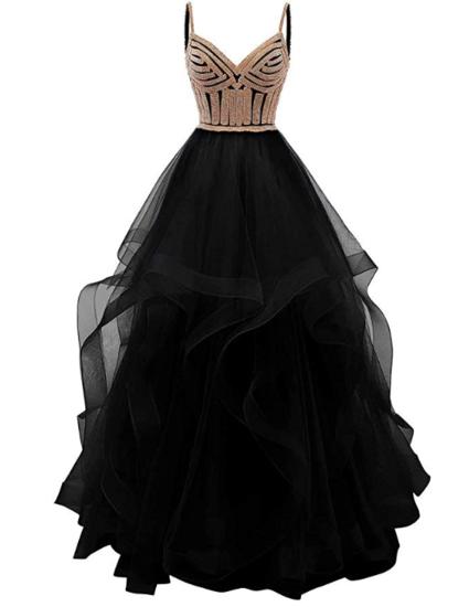Crystal Beaded Prom Dress, black prom dress,